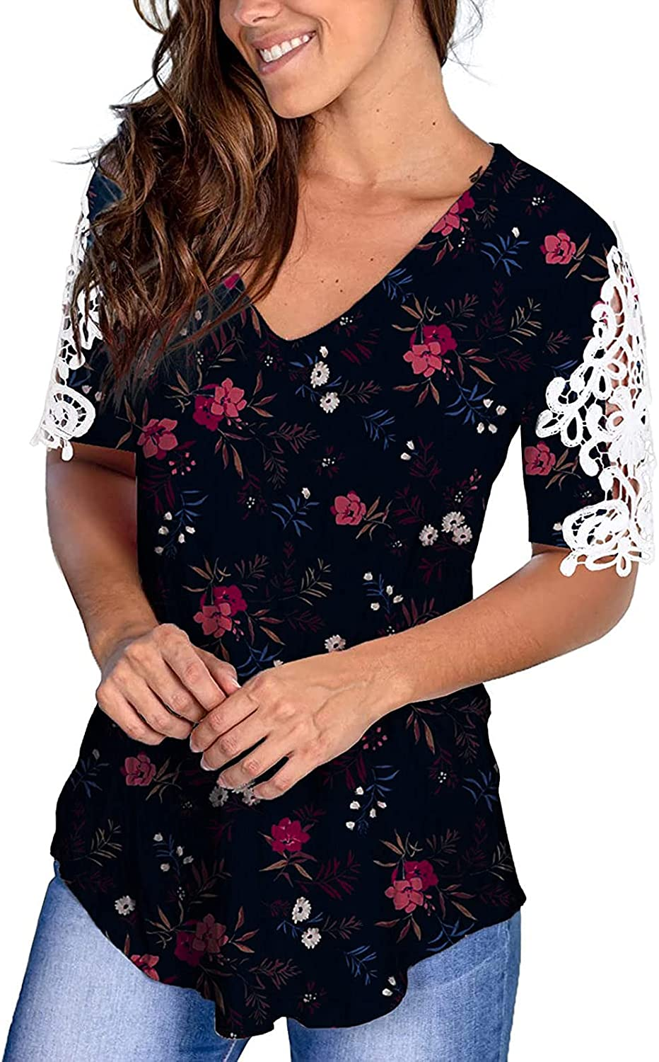 Fudule Summer Tops for Women, Short Sleeve Casual Tee V Neck Floral Blouses Loose Fitting T Shirts Drop Tail Hem Tunic
