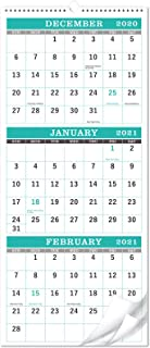 """Calendar 2021-3-Month Display Wall Calendar (Folded in a Month), Vertical Calendar with Thick Paper, 11.3"""" x 26"""" (when ope..."""