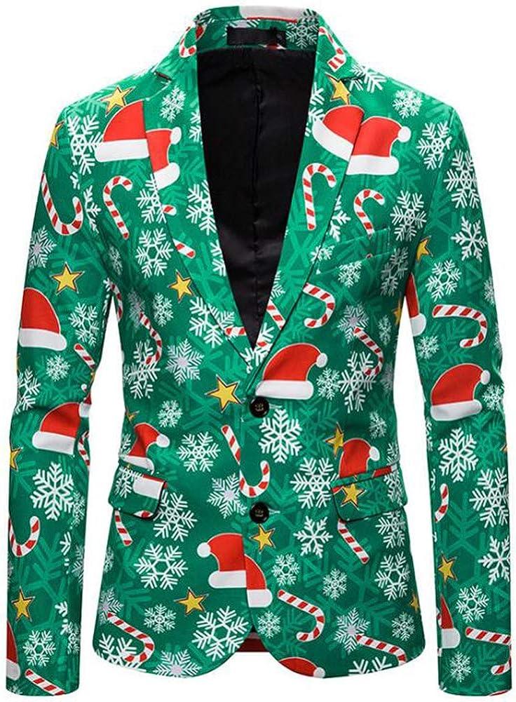 Traje de Navidad para Hombres Fiesta de la Chaqueta de Navidad Traje de Manga Larga Novedad Muñecos de Nieve Traje de impresión Hombres Adultos Camisas de fantasía de Santa Xmas