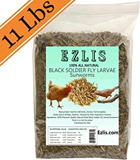 Ezlis Superior to Dried Mealworms for Chickens 11lbs - BSF Larvae, 90X More Calcium Than Meal Worms - Chicken Treats, Duck Feed, Organic Chicken Feed, Bluebird Food, Poultry Hens Wild Birds