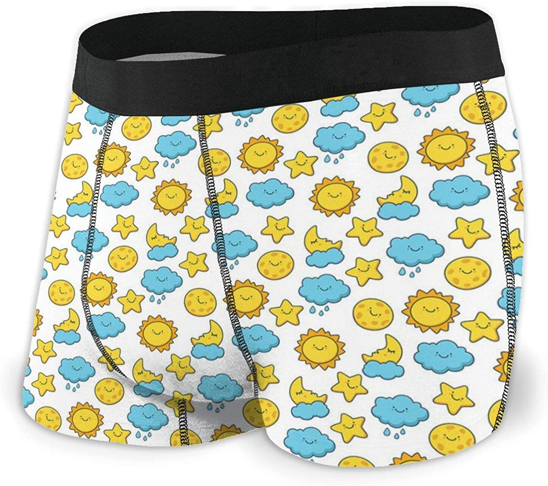 Men's Boxer Briefs Underwear,Snowy Small Town Snowflakes Season Cozy Village Print