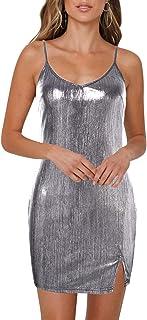 YOINS Donna Vestito da Sera Vestiti a Paillette Abito a Manica Lunga Lucido con Scollo Rotondo Abiti da Cocktail