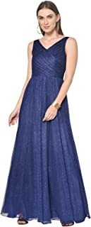 Martini Women Western Sleeveless Glitter Mesh Pleated Prom Gown Flared Dress (Blue, Size : XS-XL)