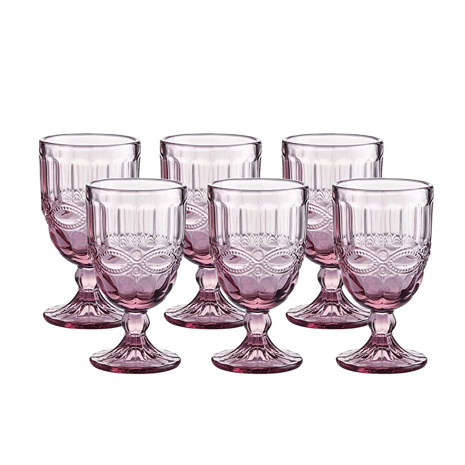 Colored Glass Goblet Vintage - Pressed Pattern Wine Glass Wedding Goblet - 8.5 Ounce (Pink)