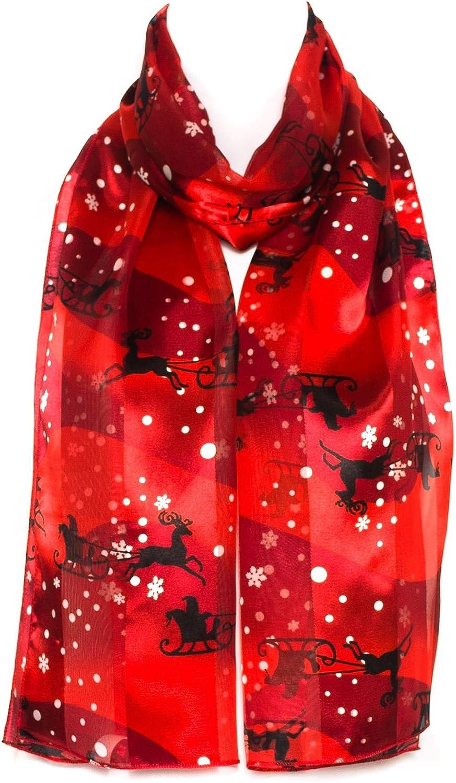 trend rank HatToSocks Christmas Snowflakes Santa on Satin Bargain sale Sleigh Sc Chiffon