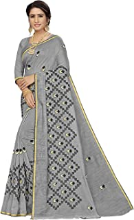 Gosriki Cotton with Blouse Piece Saree (Chikan Grey_1 Free)