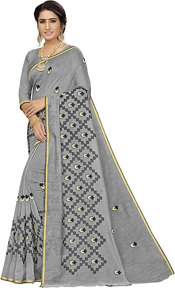 Indian Gosriki Cotton with Blouse Piece Saree (Chikan Grey_1 Free) Saree