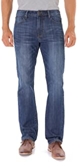 Stretch Regular Classic Straight Fit Blue Stonewash Denim Jeans for Men