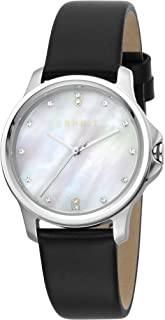 Esprit Bow white Pearl Dial Leather Analog Watch For Women Silver ES1L142L1015