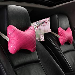 Fashion Car Headrest Pillow and Lumbar Pillow Neck Support Pillow for Driving Relieve Neck Pain with Elastic Strap Leather A-Red