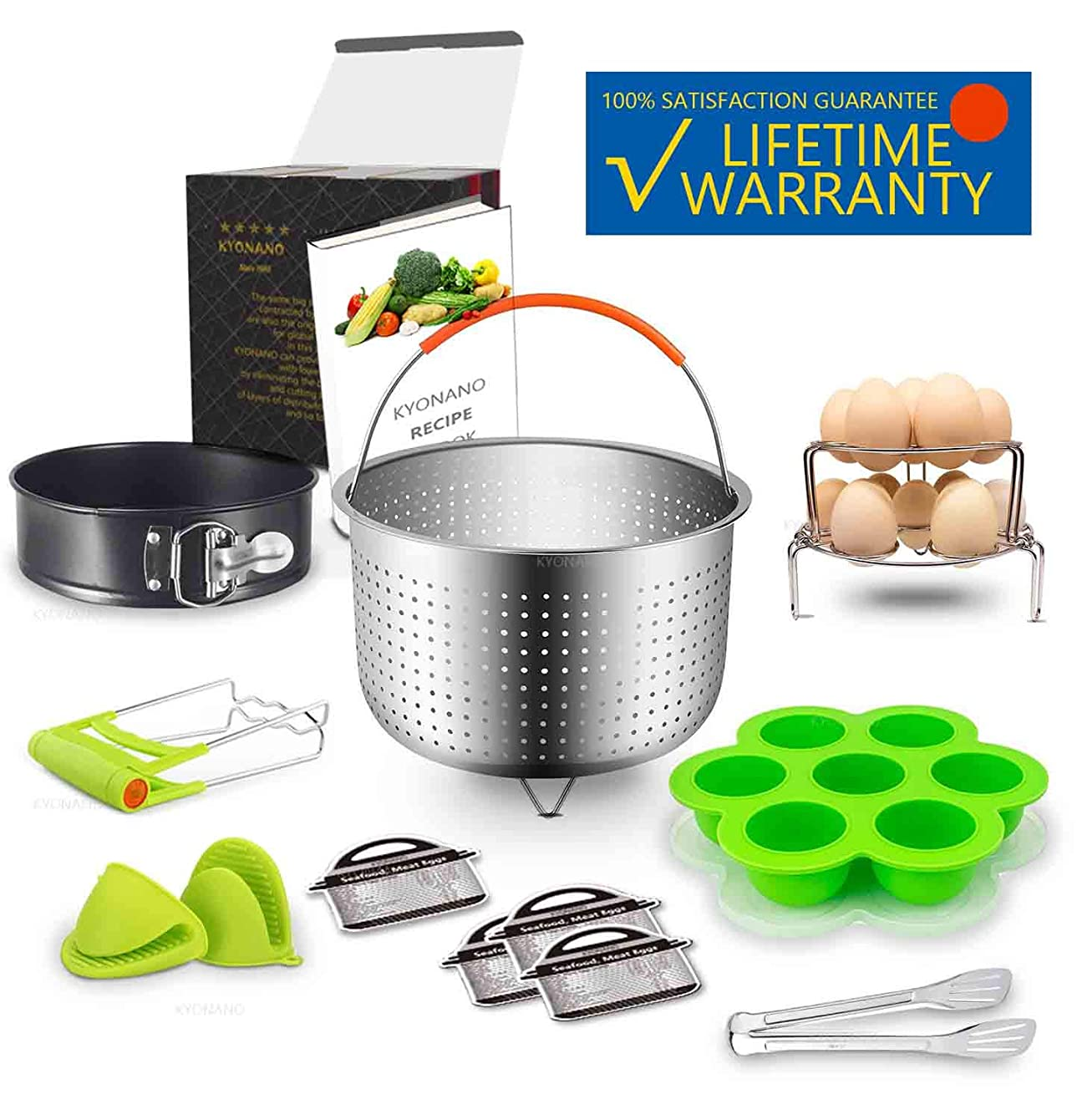 Kyonano 13 Pcs Pressure Cooker Accessories Compatible with Instant Pot 5,6,8QT, Ninja Foodi and Other Electric Pressure Cookers, Include Steamer Basket, Springform Pan, Silicone Egg Bites Molds