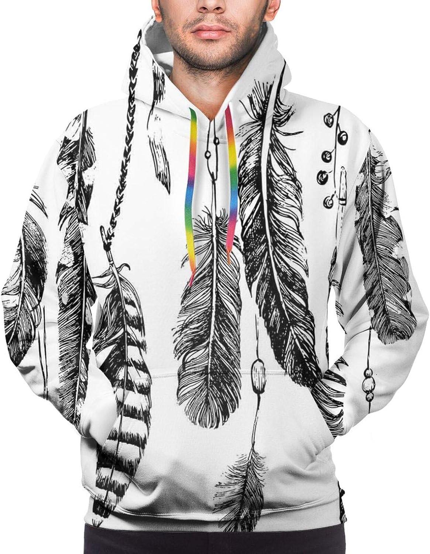 Men's Hoodies Sweatshirts,Simplistic Garden Flower Motifs Pale Silhouettes and Outlines