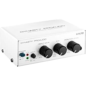 DYNASTY PROAUDIO UA2D USB Phono Preamp for Turntable, Preamp with RIAA Equalized Low Noise Moving Magnet A/D Converter (Power Adaptor & USB Cable Included)