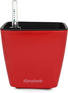 """Aquaphoric Self Watering Planter (5"""") + Fiber Soil = Foolproof Indoor Home Garden. Decorative Planter Pot for All Plants, Flowers, Herbs, African Violets, Succulents. Easy Looks Great. (Red Matte)"""