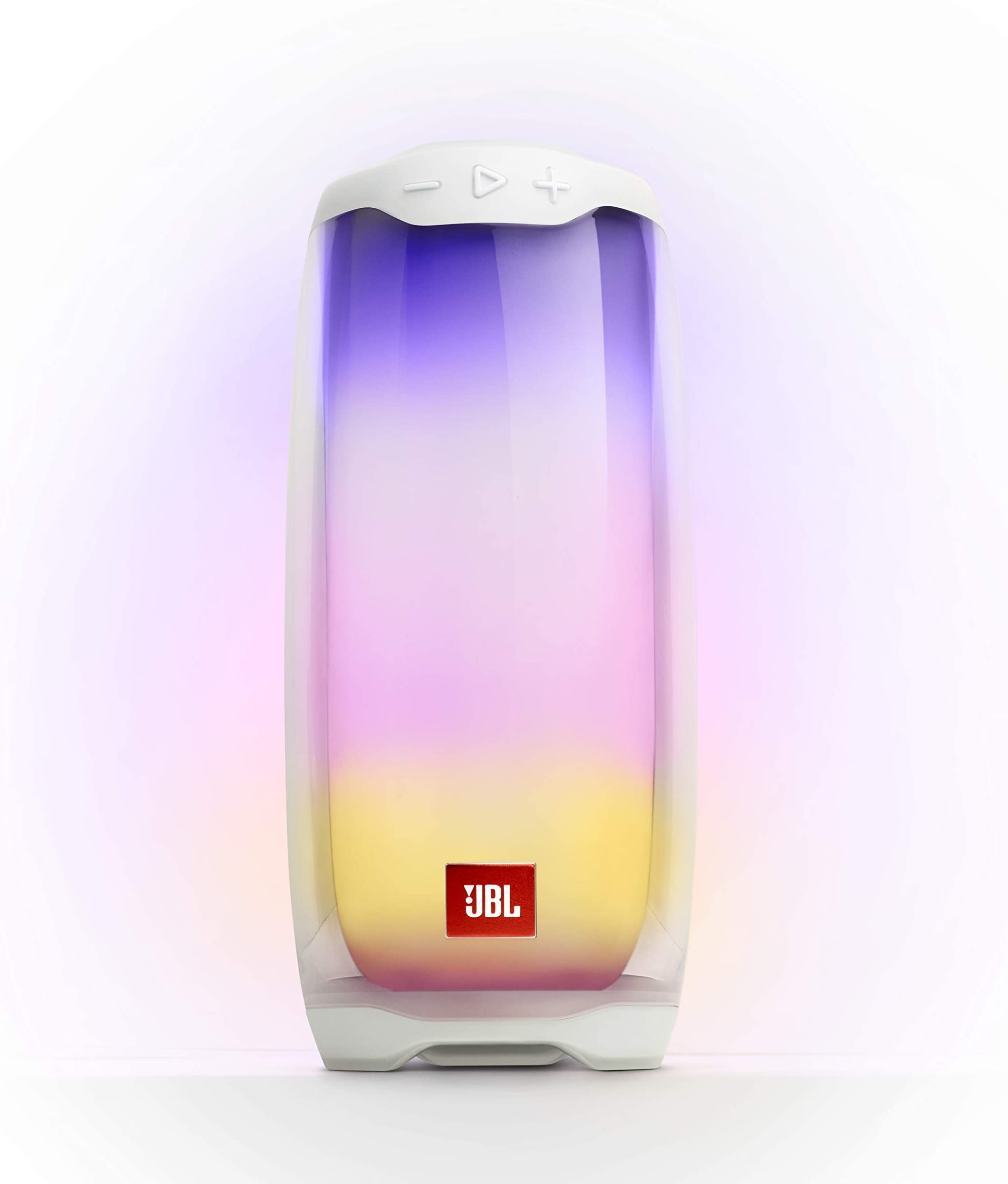 JBL Pulse 4 - Portable Bluetooth Speaker with 360 degrees LED lights, powerful sound and deep bass, IPX7 waterproof, 12 hours of playtime, JBL PartyBoost for multiple speaker pairing (White)