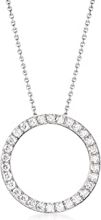 Ross-Simons 2.25 ct. t.w. CZ Open Eternity Circle Pendant Necklace in Sterling Silver