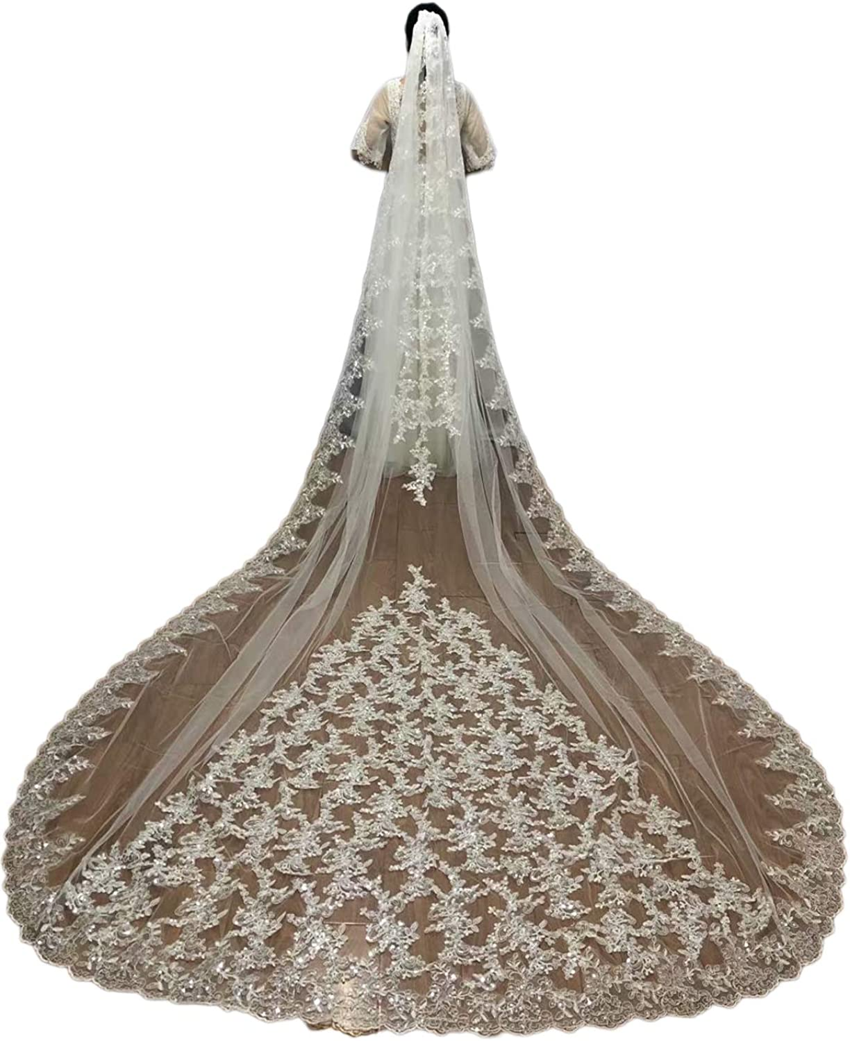 Faiokaver Wedding Veils 1 Tier Cathedral Floral Sequins Lace 5 Direct sale of manufacturer ☆ very popular Bri