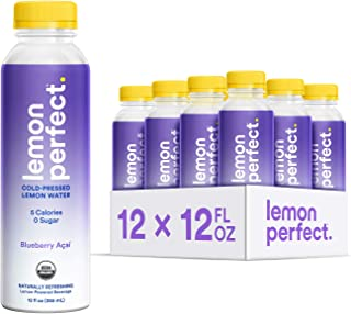 Lemon Perfect, Organic Cold-Pressed Lemon Water, Blueberry Açaí (12-Pack), Full of Flavor, Hydrating Electrolytes, Essenti...