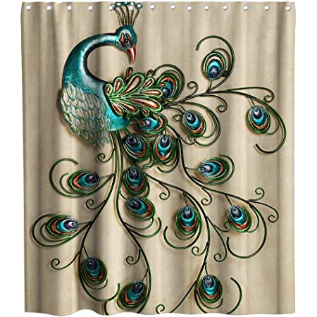 Peacock Shower Curtain Classical Noble Sexy Woman Vintage Painting Elegant Fantasy Bathroom Decoration Sets 72 X 72 Inches Fabric With 12 Hooks Red Green Home Kitchen