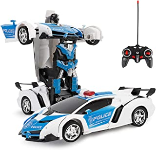 ZeroPlusOne® RC Car for Kids, 1:18 Transform Car Robot, 2.4GHz Rechargeable 360°Rotating Drifting Realistic Engine Sounds ...