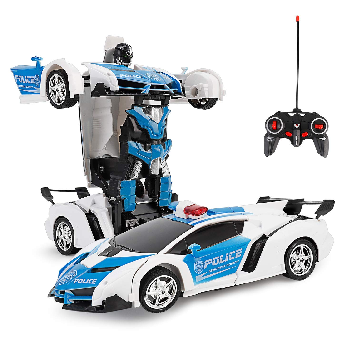 Zeroplusone Rc Car For Kids 1 18 Transform Car Robot 2 4ghz Rechargeable 360 Rotating Drifting Realistic Engine Sounds Remote Control Toy Car Best Kids And Adults Police Car Amazon Com Au Toys Games