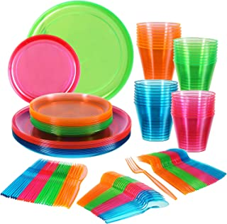 Neon Party Supplies Set, 32 9 inch Plastic Plates, 32 6 inch Dessert Plates ,32 9-Ounce Tumblers, Glow in the Dark Cutlrey Spoons Forks Knives, Fiesta Taco Party Supplies, Dia De Muertos, Coco Theme, Wedding, 80s Festivals