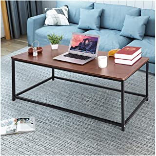 ErYao Shipped from USA, Modern Coffee Table with Steady Metal Legs for Living Room, Wood Square Coffee Table, 47.2×23.6×18.1in Living Room Table