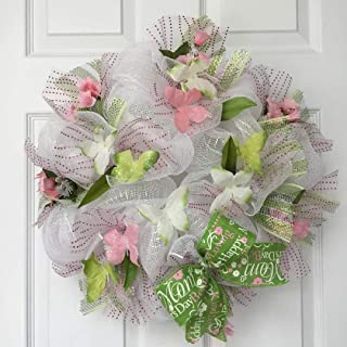 Mothers Day or Spring Butterfly Deco Mesh Pink Green Wreath with Changeable Bows