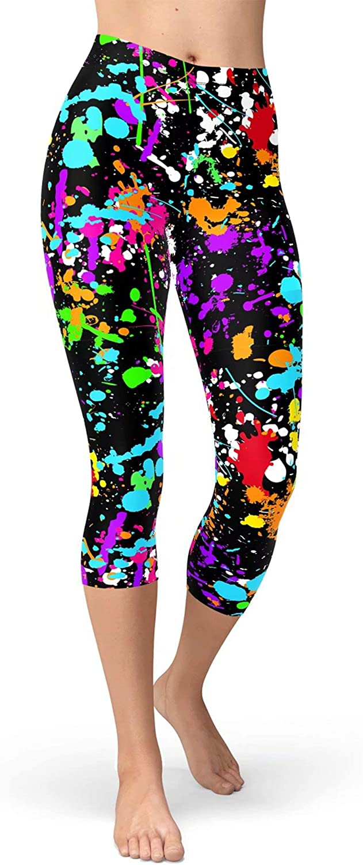 sissycos Women's Artistic Splash 80s Printed Cropped Capri Leggings Buttery Soft Tights