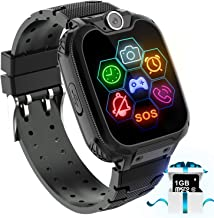 Karaforna Kids Game Smart Watch Phone - Boys Girls Smartwatch Phone with 7 Games Camera Alarm Clock Touch Screen SOS Call for Children Birthday Gifts with 1GB Micro SD Card Kids Phone Watches