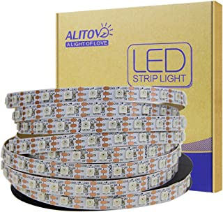 ALITOVE 5m WS2812B Individually Addressable LED Strip Light 16.4ft 300 SMD 5050 RGB Dream Color LED Pixel String Light Non-waterproof White PCB DC 5V for Arduino Raspberry Pi Fadecandy project