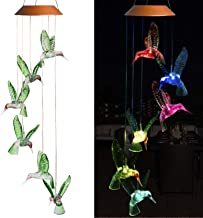 xxschy LED Solar Hummingbird Wind Chimes Outdoor - Waterproof LED Changing Light Color Wind Chime, Six Hummingbirds Wind Chimes for Home, Party, Night Garden Decoration