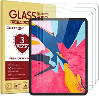 OMOTON [3-Pack] Screen Protector for iPad Pro 11 [Work with Face ID & Apple Pencil] - Tempered Glass/High Definition/9 Hardness
