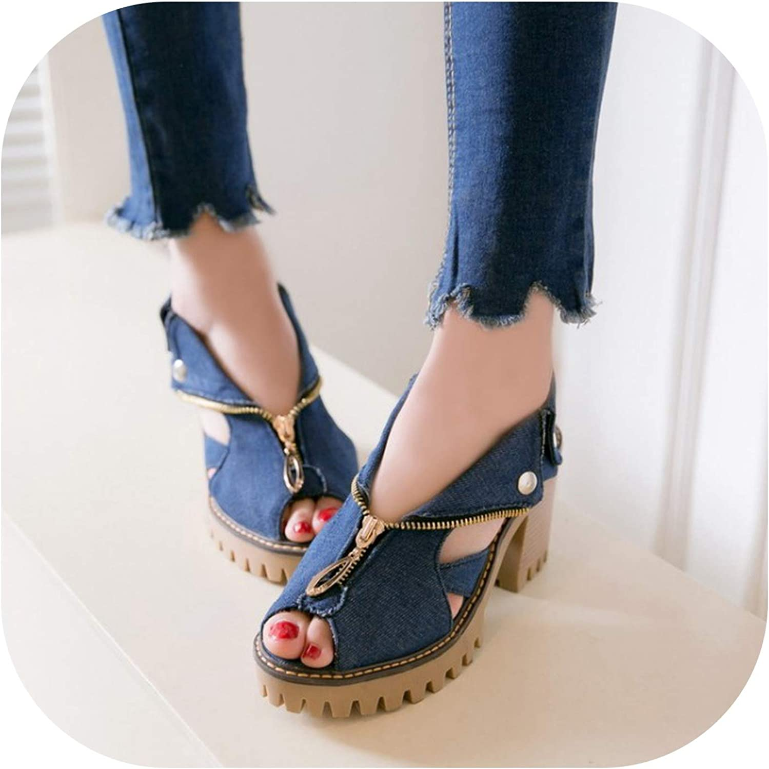 The of Denim with Fish Mouth Women Sandals high Heels Women's Zipper Large Size Non Slip shoes