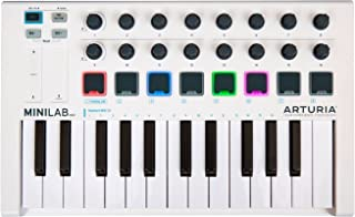 Arturia MINILAB MKII Universal MIDI Controller MiniLab MkII Keyboard Controller Features a Great-Feeling Keybed with 25 Slim Keys, 16 Knobs, 8 Pads and Touch Controls in a Space Saving Package