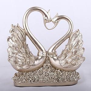 Cisnes figuras decorativa Corazón Escultura Estatua Decoración figuras resina boda regalo Salón decoración Altura 26cm Oro/Plata, plata