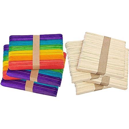 YOUYIKE® 400 pcs Palos de madera natural Palos de Helado de Madera Natural Material para DIY Bricolaje Artesanía juguetes creativos hechos a mano para ...