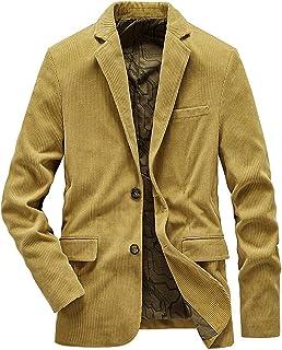 SZAWSL Mens Corduroy Business Suit Coat Slim Multi Color 2 Buttons Blazer Casual Jacket