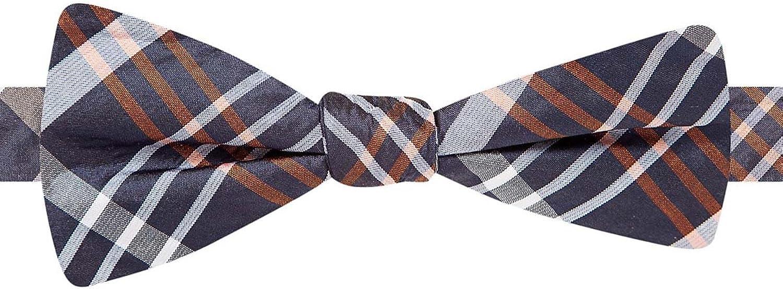 Ryan Seacrest Distinction Speaker Plaid Bow Tie, Navy/Orange, OS