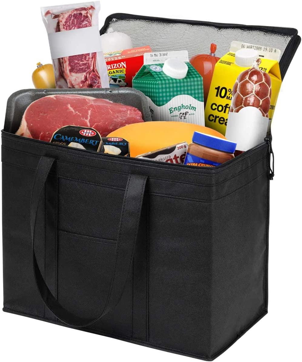 Insulated Shopping Bags, Reusable Zipper Closure Grocery Bag for