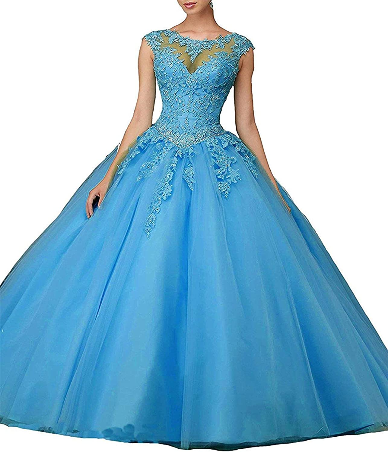 Sulidi Women's Boat Neck Floor Length Lace Beaded Sweet 16 Ball Gowns Quinceanera Dresses C167