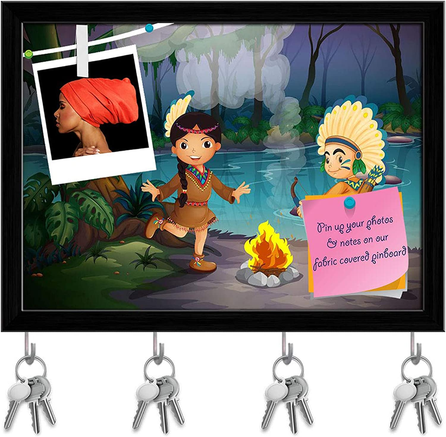 Artzfolio Young Indians at The Forest Key Holder Hooks   Notice Pin Board   Black Frame 16.3 X 12Inch