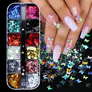 12 Colors Butterfly Glitter Nail Sequins - 3D Nail Art Flakes Colorful Confetti Glitter Sticker Decals Manicure Nail Art D...