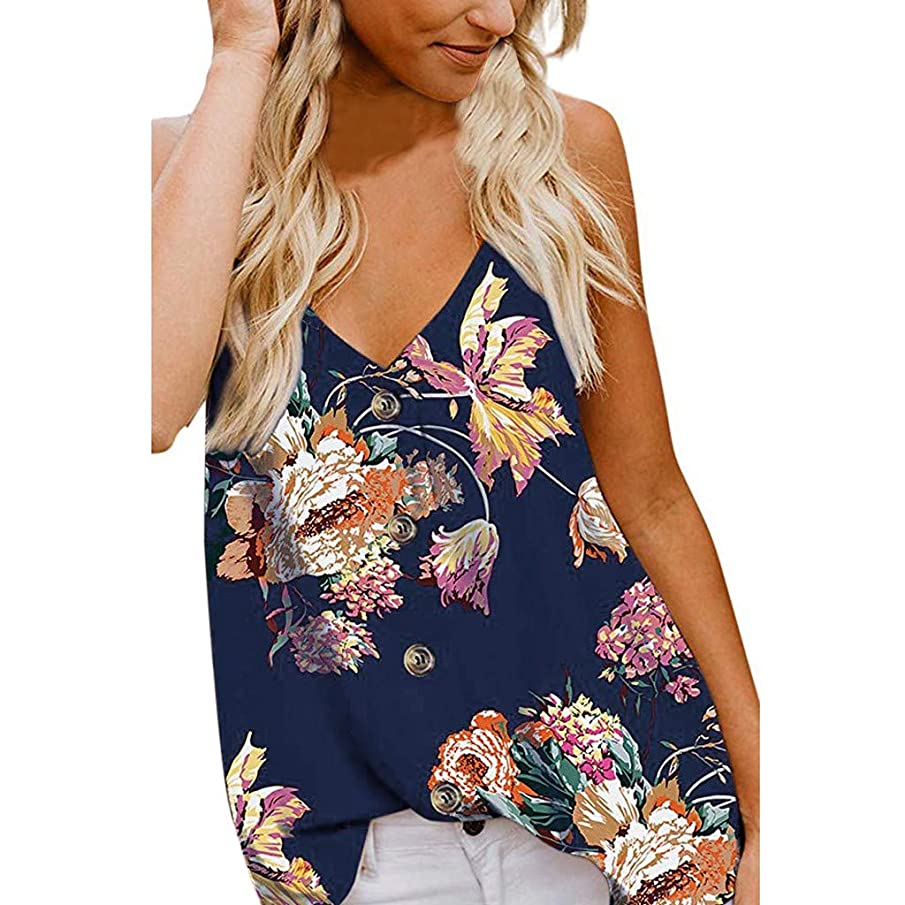 DAYPLAY Womens Tank Tops Plus Size Summer 2019 Button Deep V Neck Floral Print Camis Vest T Shirt Tee for Ladies Blouse