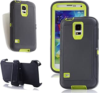Galaxy S5 Holster Case, Harsel Defender Series Heavy Duty Tree Camo High Impact Tough Rugged Hybrid Rubber Protective w' Belt Clip Built-in Screen Protector Case Cover for Galaxy S5 (Gray Green)