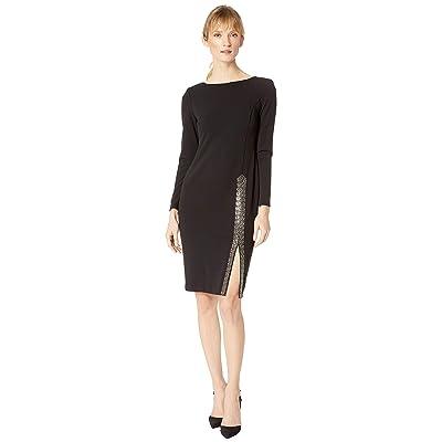 Calvin Klein Embellishment Slit Dress with Long Sleeves CD8C14UV (Black) Women