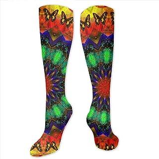 Calcetines altos unisex coloridos y divertidos para niñas (coloridos mandala, teñidos de caleidoscopio)