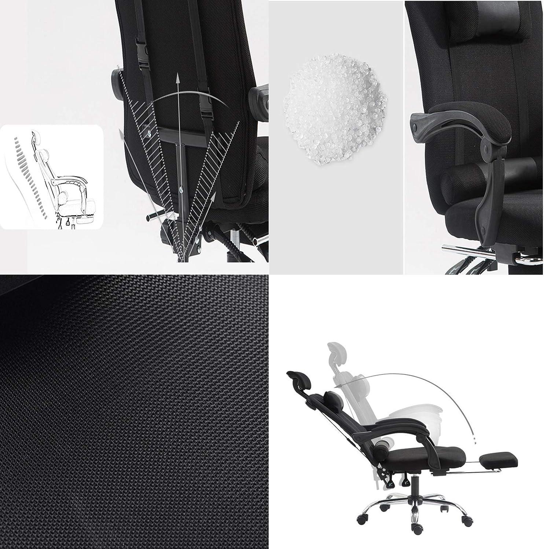 YJX Chaise de Bureau Ergonomique Tabouret en Maille Appui-tête et accoudoir réglables Fauteuil inclinable inclinable à Dossier Haut pivotant à 360 ° pour Le Bureau (Noir) Gray