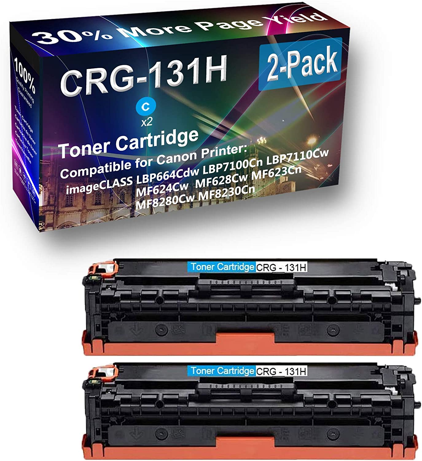 2-Pack (Cyan) Compatible High Capacity CRG-131H Toner Cartridge Used for Canon Color imageCLASS LBP7100Cn LBP7110Cw Printer