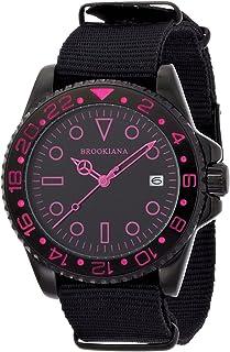 [ブルッキアーナ]BROOKIANA 10気圧防水 デイト表示 ピンク×ブラックナイロン 腕時計 BA1702-BKPK メンズ 腕時計